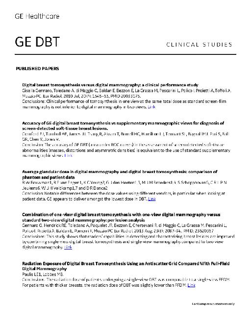 GE DBT 科研论文摘要及链接